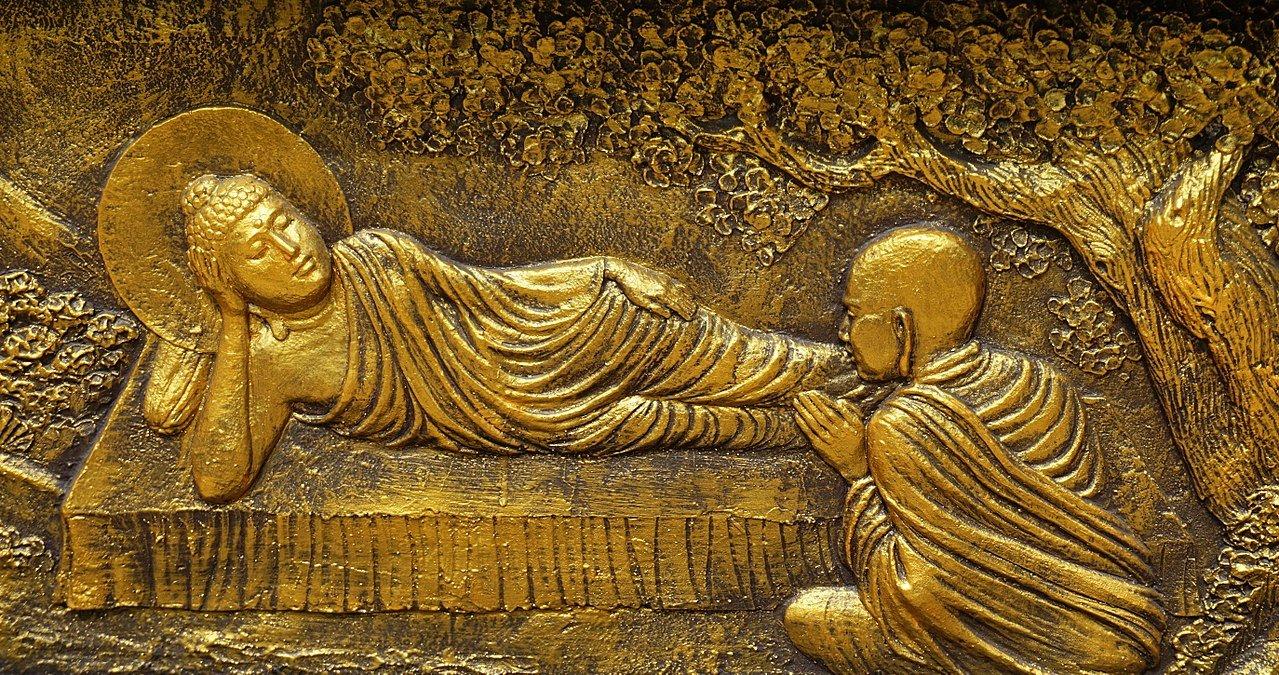 Morte del Buddha, assistito da Ānanda